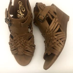 Tan Wedge Sandals by Naughty Monkey